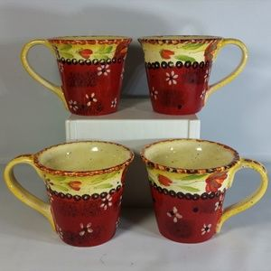 Set of 4 Sienna by Giani Mugs Coffee Tea 12oz EUC